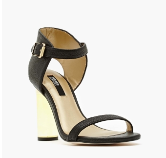 Lucite Heel, Nasty Gal, Gold Lucite, Black and Gold Heels