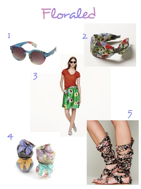 Flowers Floral Topshop Sunglasses Anthropologie Turban J. Crew Skirt Jeffrey Campbell Gladiator Sandals Mackenzie Childs Vases