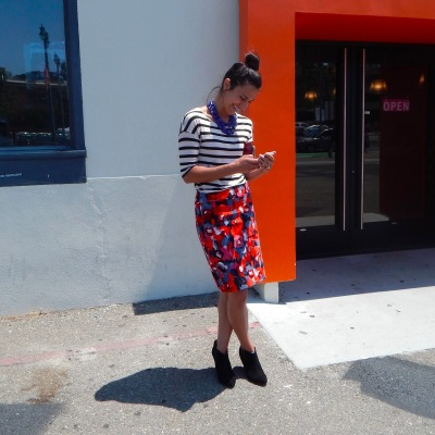 San Francisco Street Style Anthropologies Florals Stripes America's Cup Fashion California