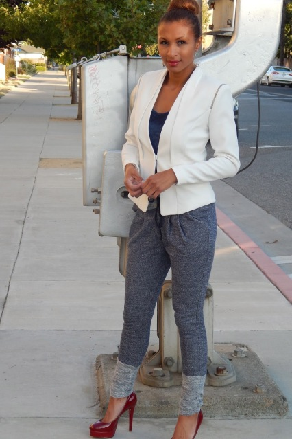 HM White Blazer, HM Crop Top, HM Sweatpants, Christian Louboutin Heels, Acid Wash Navy, Outfit of the Day, Style Blogger