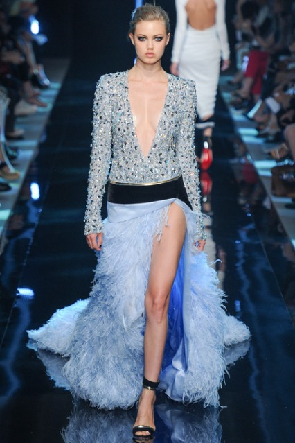 Fall 2013 Couture Paris Fashion Blue Icy Model Skinny