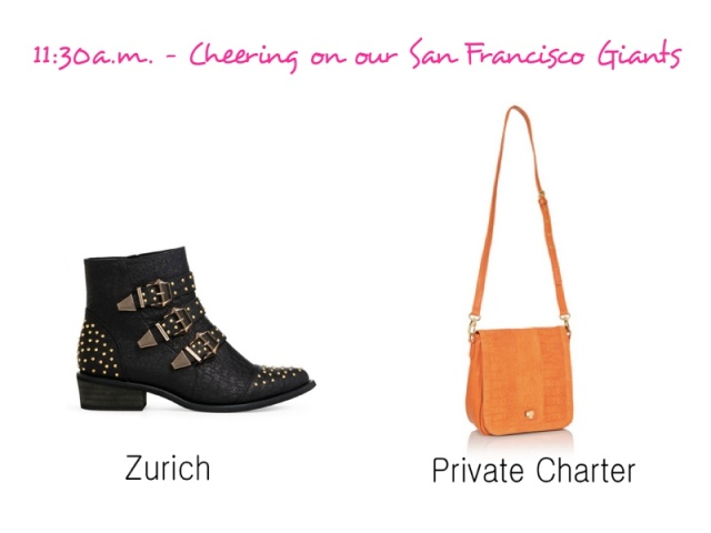 Studded booties, Gold detailed boots, Black booties, JustFab Booties, Orange crossbody bag, Private Charter purse, JustFab purses, Colorful purses, affordable purses for fall