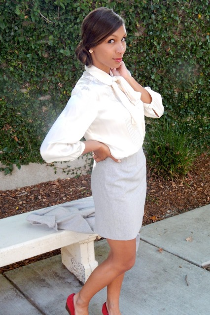Office Wear, Work Wear, White Silk Top, Grey Pencil Skirt, Professional Style, Office Style, Chignon, Bun