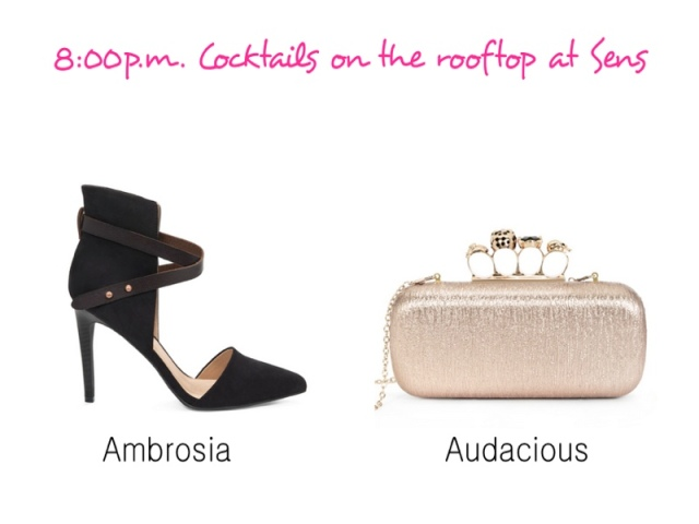 Ambrosia heels, JustFab Ambrosia, Pointy toed heels, Ankle wrap heels, Audacious clutch, Structured clutches, Jeweled clutches, affordable clutches, JustFab clutches, night out purse