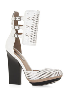Perforated pumps, BCBG fall shoes, Gladiator pumps, sporty pumps, white perforated shoes, BCBG hailey, BCBG ankle strap shoes