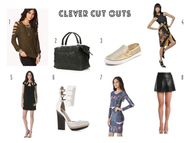 Fall 2013, Forever 21 Cut Out Sweater, Topshop perforated bag, Tory Burch perforated sneakers, Etro cut out dress, DVF cut out dress, BCBG perforated heels, Mara Hoffman side cutout dress, Rag & Bone perforated leather skirt