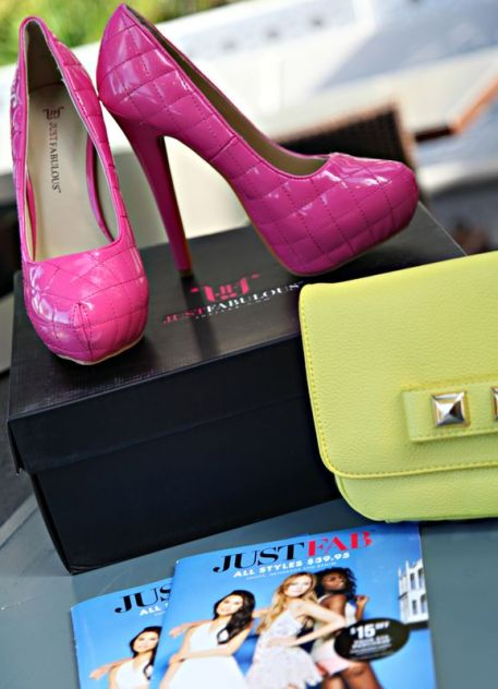 JustFab, Pink High Heel Shoes, Yellow Studded Clutch, JustFab shopping, JustFab Summer Picks