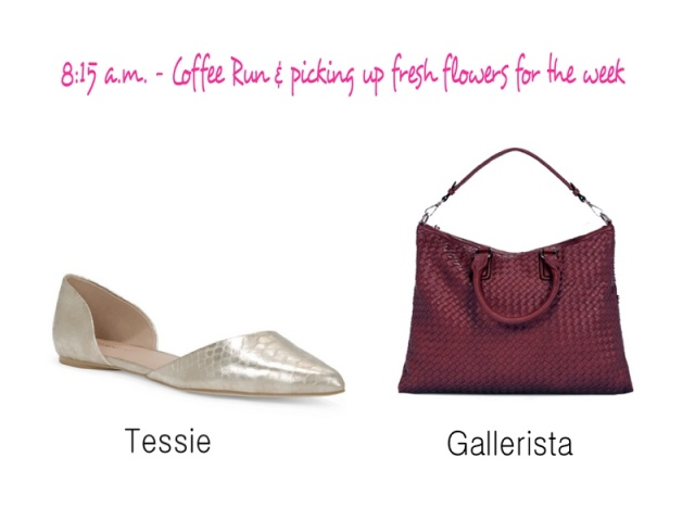 Gold flats, JustFab Shoes, JustFab flats, Fall flats, Carryall purse, woven purse, Saturday purse, Gallerista bag