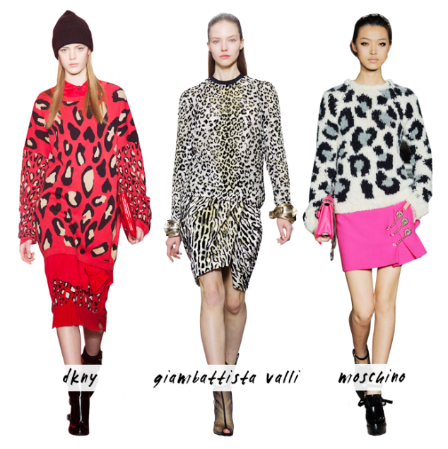 StyleCaster, Fall 2013 Trends, Leopard Print, Fall Style, Trend Watch, DKNY Leopard, Giambattista Fall 2013, Moschino Fall 2013