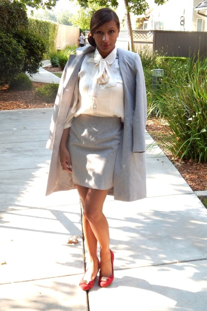 Business Casual, Sole Society Wedges, Gray Skirt Suit, Professional Attire
