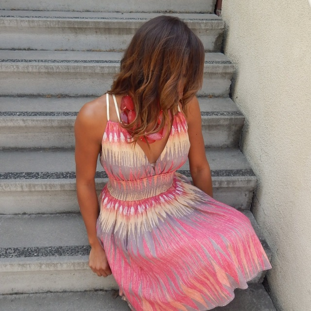 Colorful Summer Outfit, Summer Outfit, Free People Dress, Missoni Style Dress, Zig Zag Dress, Free People Sundress, Napa Valley Outfit, Napa, Wine Country Clothes