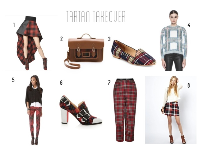 Fausto Puglisi, Cambridge Satchel, Joie Day Dreaming Tartan Canvas Smoking Slippers, Stella McCartney Cropped Plaid Sweater, McQ Alexander McQueen tartan leggings, Christian Louboutin Tartan Pumps, Topshop balloon pants, Asos A-line skirt