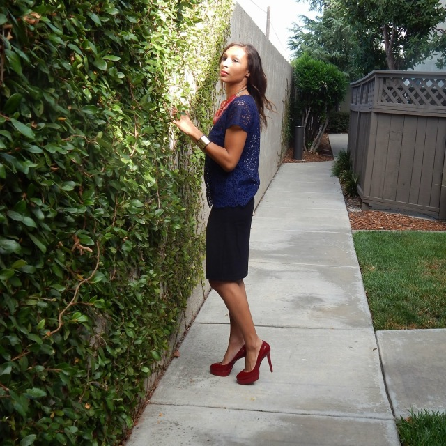 Navy lace top, business casual, Target black pencil skirt, red christian louboutin pumps
