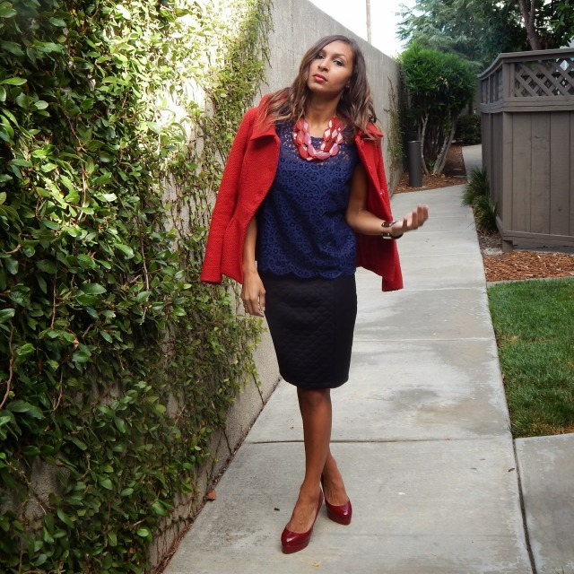Red overcoat, red black and navy work outfit, work wear ideas, office wear outfit ideas, office outfit inspiration