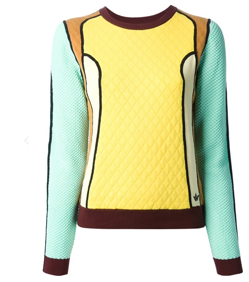 Opening Ceremony Sweater, Opening Ceremony and Adidas, Opening Ceremony Ready to Wear, Fun sweatshirts, Colorful sweaters, Colorful sweatshirts, patchwork sweater, texture sweatshirts, Adidas clothing, Opening Ceremony New York Fashion Week, Opening Ceremony Fall Clothes