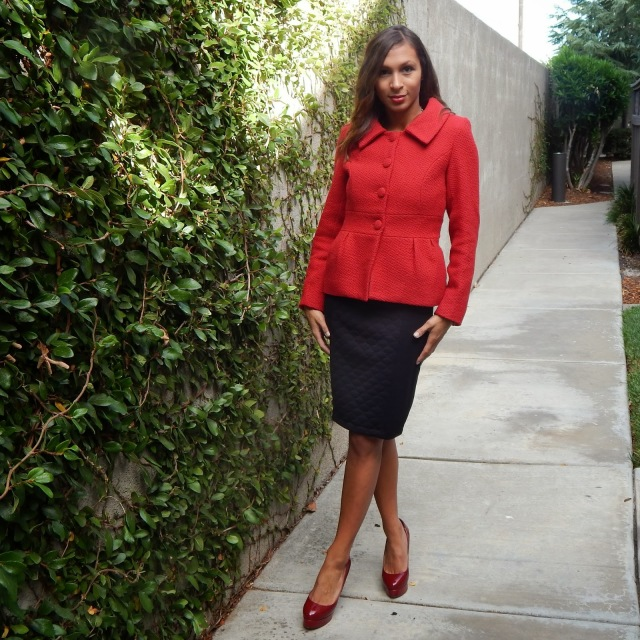 Red coat for fall, red coat for office in fall, coats for san francisco, office wear coats
