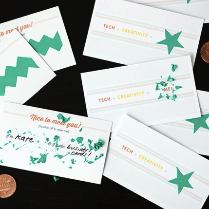 Brit + Co, DIY, Business Cards, Scratch off business cards, creative business cards, DIY work projects