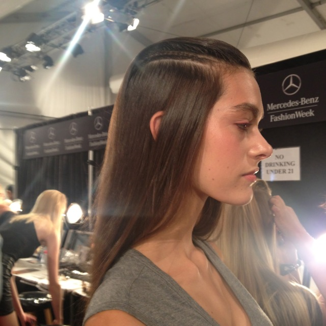Fashion Week Hair styling, NYFW Hairstyles, Simple hairstyles, slicked back hair styling, Redken 5th Avenue at Fashion Week