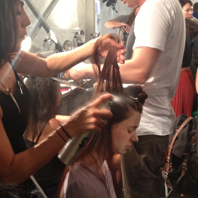 Cutler Salon hair styling new york fashion week, redken fashion works 12 spray, fashion week hair styling