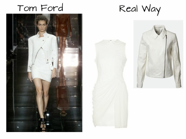 Tom Ford Runway to Real Way, Alexander Wang Leather Dress, White leather dress, truth and pride leather jacket, white leather moto jacket