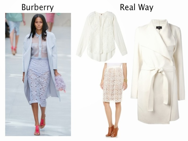 Burberry Prosum runway to real way, by malene birger lace skirt, rebecca taylor white blouse, sheer white blouse, white oversized coat, joseph belted coat