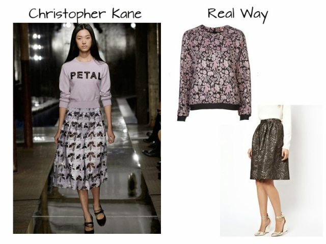 Christopher Kane runway to real way, msgm floral sweatshirt, jacquard print skirt, les prairies des paris skirt, floral full skirt