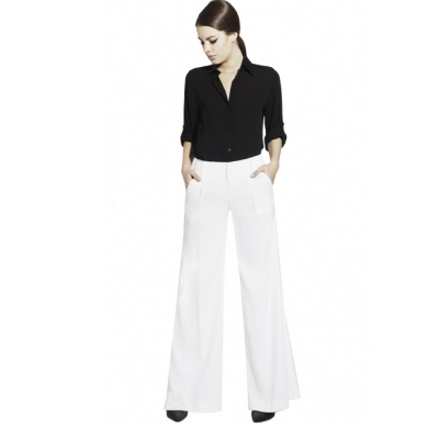 White Wide-Leg Pants, White Palazzo Pants, Winter White Pants, White Pants for Fall