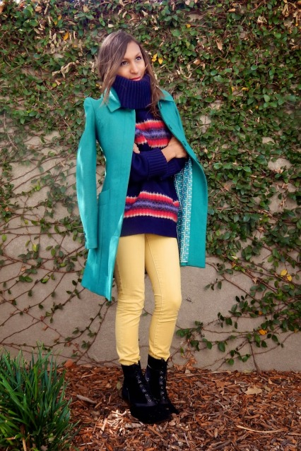 Fall Colors, Colorful Fall outfit, Fall style, Green Tulle Coat, Gap Sweater, Anthropologie Pilcro Pants, Bacio61 Boots