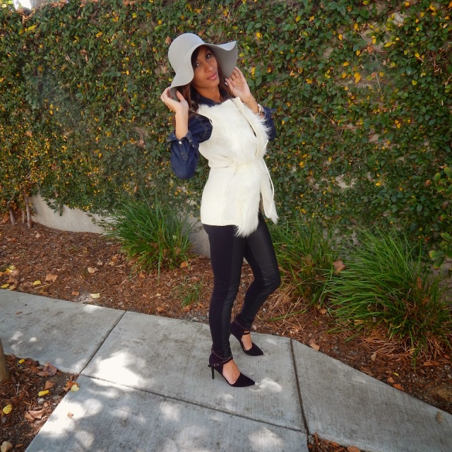 Mixing textures, mixing fabrics, Zara leather leggings, Target denim shirt, H&M fuzzy vest, American Apparel floppy hat, JustFab shoes