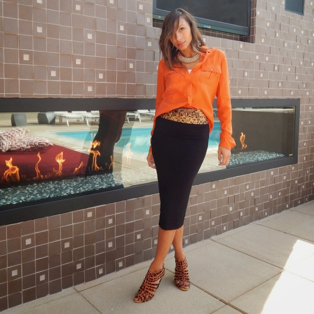 Go Silk Orange blouse, Leith skirt, black midi skirt, leopard belt, SLYK necklace, BCBG leopard heels