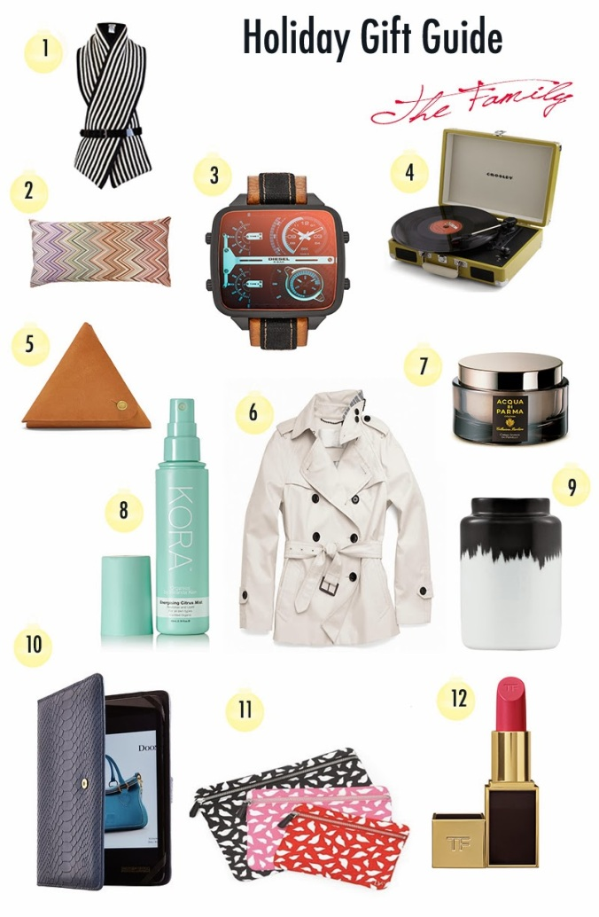 Family Gift Guide, Black and white striped scarf, bouchra scarf, missoni pillow, diesel analog watch, crosley record player, Fossicl leather coin case, Coach trench coat, acqua di parma shave cream, kora face spritz, energizing face mist, black and white vase, Copenhagen vase, dooney and burke ipad case, diane von furstenberg makeup bags, dvf cosmetics trio, tom ford red lipstick, perfect red lipstick, gift ideas for mom, gift ideas for dad, gift ideas for brother, gift ideas for sister