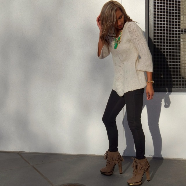 Black coated denim, California winter outfit, B Brian Atwood suede fringe booties, Kate Spade Statement necklace
