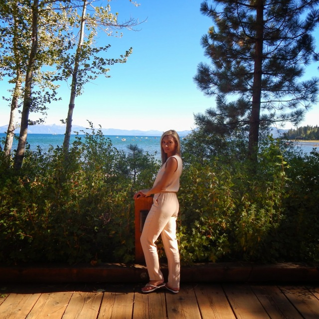 Parisian chic, neutrals, tahoe scenery, lake setting, romper