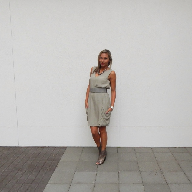 Military style dress, day to night transition, bcbg dress