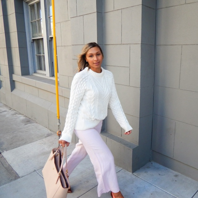 Cable knit sweater, fisherman's sweater, cropped pants, Tory Burch purse, Tory Burch York Buckle Bag, Guess Heels, Anthropologie Pants, Zara Cable knit sweater