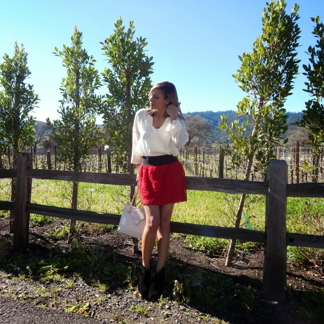 Willi Smith blouse, skirt and booties, Brix restaurant, Silverado resort, napa restaurants