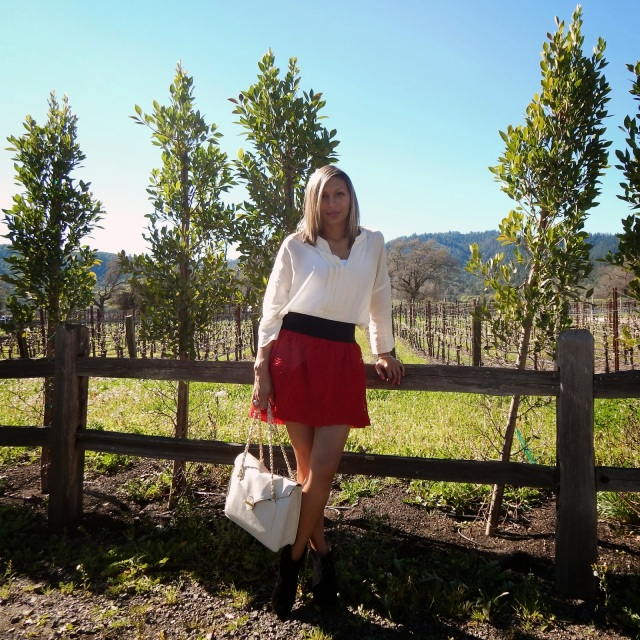 Napa Valley, Valentine's Day, Brix Restaurant, White Silk blouse, red rose skirt, Jessica Simpson booties
