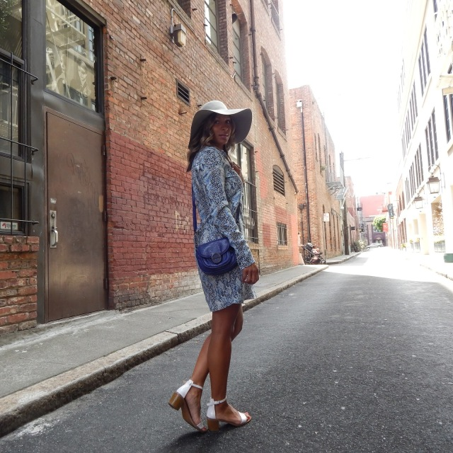 Snake Print dress, shirt dress, equipment fr, north beach, san francisco, san francisco fashion, san francisco summer style, what to wear in san francisco, floppy hat, zara sandals, american apparel hat