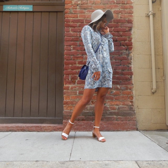 Snake Print dress, shirt dress, equipment fr, north beach, san francisco, san francisco fashion, san francisco summer style, what to wear in san francisco, floppy hat