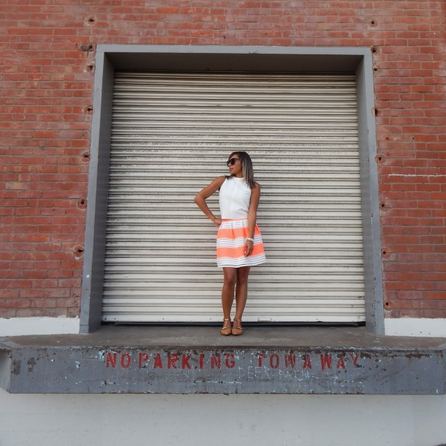 Dogpatch, San Francisco, Zara sleeveless top, Francescas skirt, Aldo Sandals, Nude Sandals, Tan sandals, Louis Vuitton Bag, Louis Bag, Louis Vuitton Neverfull GM, Louis Vuitton Damier, Movado watch, warehouse, steel, loft style, VA Style, Vast Aspiration, what to wear in San Francisco, what to wear in SF Summer