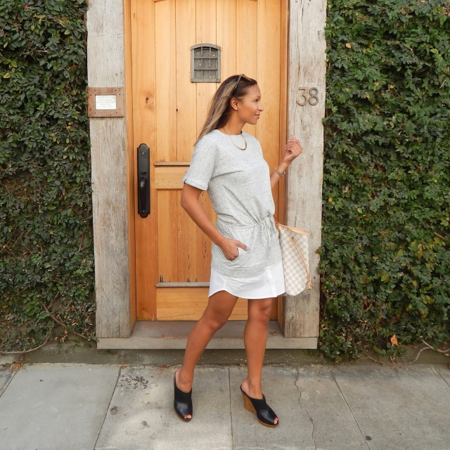 Banana Republic dress, grey dress, sweatshirt dress, layered dress, splendid mules, Louis Vuitton bag, Louis Vuitton Neverfull, san francisco, san francisco fashion, san francisco style, what i wore, movado watch, Karen walker sunglasess,