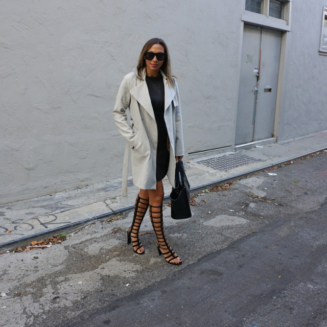 Topshop coat, trench coat, Ali Ro dress, leather dress, Stuart Weitzman shoes, Karen Walker Sunglasses, Neiman marcus pruse, wear to work, wear in san francisco, gray clothes, monochrome outfit, neutrals, gray and black, alligator purse, soma