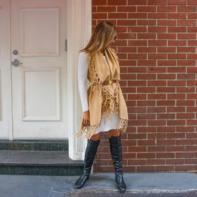 Fall, Fringe, Shawl, Belted, white layering dress, BCBG dress, Over the knee boots, Karen Walker sunglasses, Louis Vuitton Neverfull GM, Louis Vuitton bag, Kate Spade cuff, J.Crew bracelet, Movado watch, Maiden lane, Nikon Coolpix L820, Sony a6000 camera, sony camera