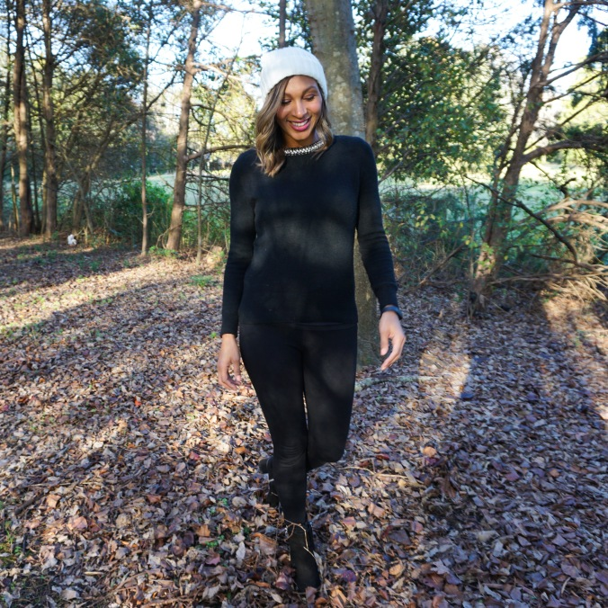 Cyber Monday, Black Friday, all black everything, pom pom beanie, black sweater, black stretchy pants, dolce vita booties, zara pants, alex haygood, charlotte winter, north carolina winter