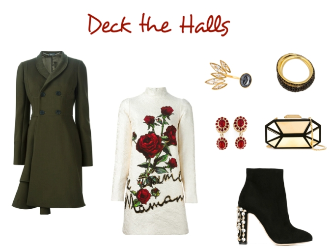 Alexander McQueen coat, Dolce & Gabanna Dress, Dolce & Gabanna booties, Giuseppe Zanotti clutch, geometric clutch, Ca & Lou ring, Tom Binns ring, open ring, deck the halls, holiday party look, farfetch, farfetch holiday looks, Christmas party outfit, high fashion, New years outfit, new years eve