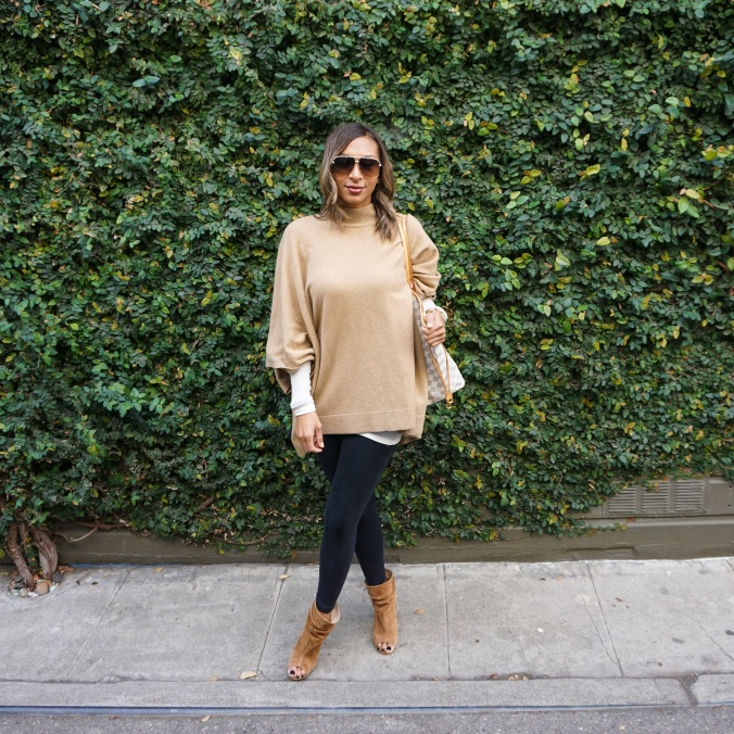 Theory poncho, theory shawl, trouve shirt. white layering tee, layering tee, black leggings, Hue leggings, kristin cavallari shoes, louis vuitton bag, louis vuitton neverfull, dior sunglasses, movado watch, j.crew bracelet, kate spade cuff, thanksgiving outfit, travel outfit, san francisco style