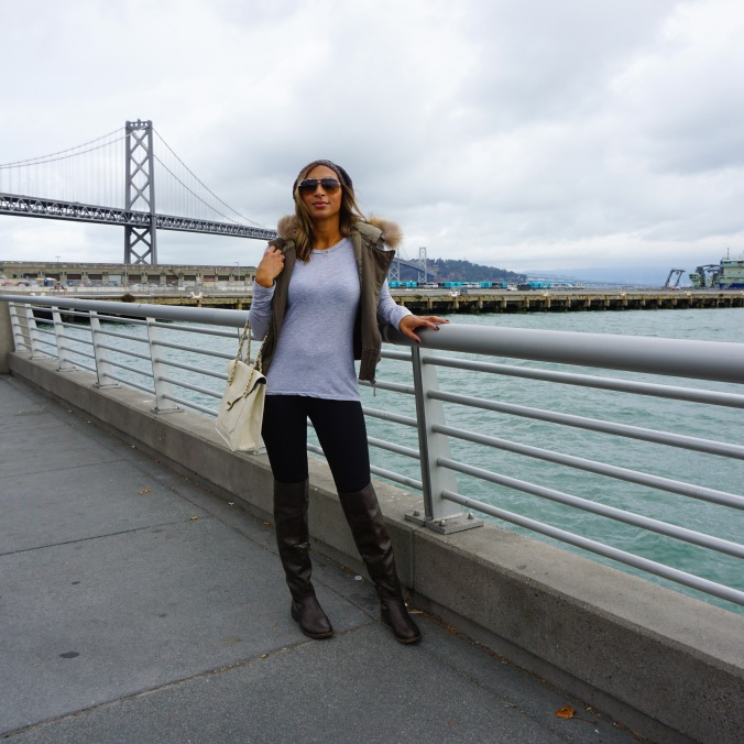 San Francisco, Embarcadero, Bundled up, Fur trimmed vest, parka vest, vest, layering pieces, slouchy beanie, over the knee boots, san francisco style, thanksgiving outfit, san francisco bay, cozy, farmers' market outfit, rag and bone shirt, zara leggings, dior sunglasses