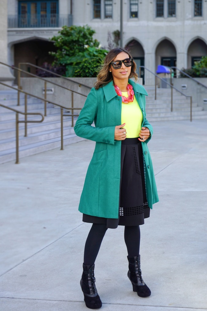 Green coat, milly coat, j crew sweater, neon j crew sweater, chicwish skirt, full skirt, perforated skirt, wedge booties, lace up boots, christmas outfit, christmas look, christmas eve look, grace cathedral, san francisco, de young museum, holiday style