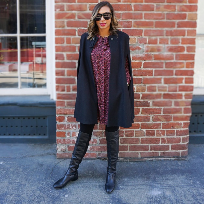 Black cape, cape coat, fall floral dress, azalea dress, azalea san francisco, louise et cie boots, over the knee boots, black over the knee boots, SOMA, south of market, san francisco design district, bobbi brown cosmic raspberry, bobbi brown lipstick, alex haygood, vast aspiration