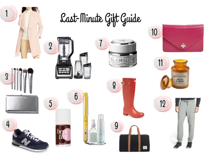 Gift guide, christmas gifts, christmas gift ideas, christmas presents, nordstrom, online shopping, christmas shopping, ralph lauren coat, bobbi brown makeup brushes, ninja juicer, new balance sneakers, benefit benetint, drybar dirty martini, glam glow, hunter boots, red hunter boots, herschel duffle bag, tory burch clutch, paddywax candle, nike sweatpants
